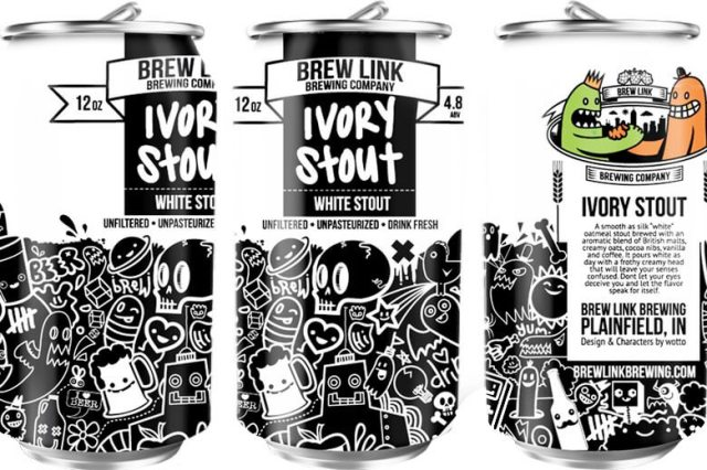 Packaging art for the Ivory Stout (White Stout) by Brew Link Brewing Company
