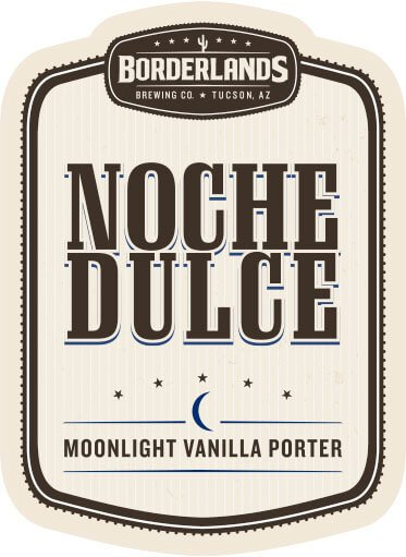 Label art for the Noche Dulce by Borderlands Brewing Co.