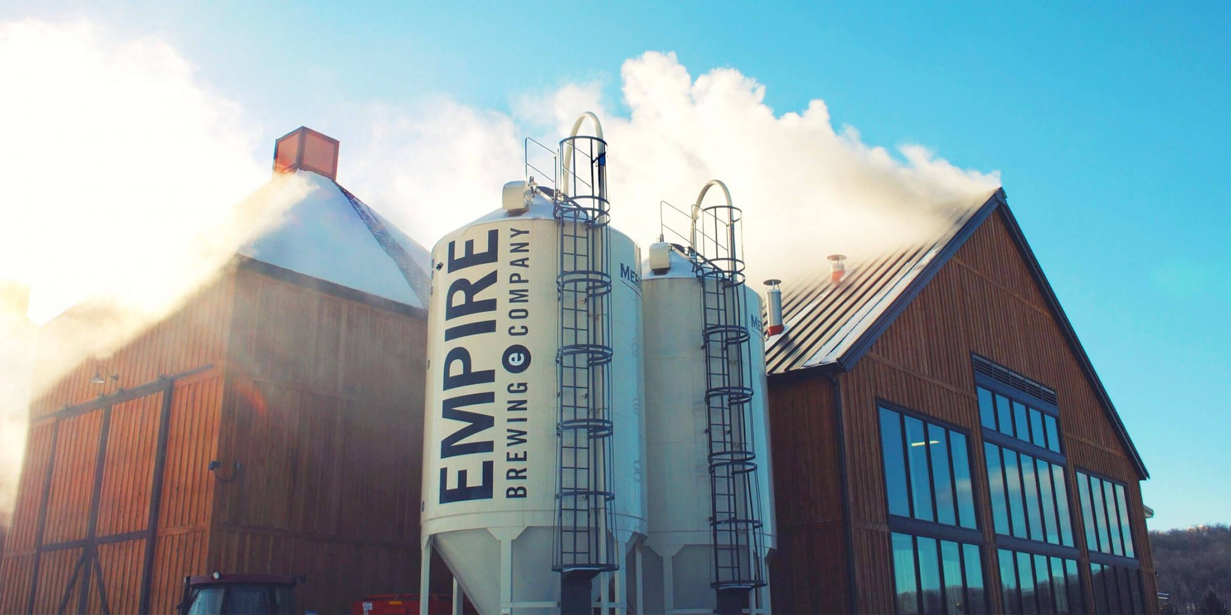 Outside the Tap Room at the Empire Farm Brewery (part of Empire Brewing Company) in Cazenovia, New York