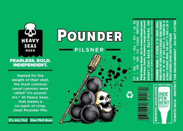 Label art for the Pounder Pils by Heavy Seas Beer