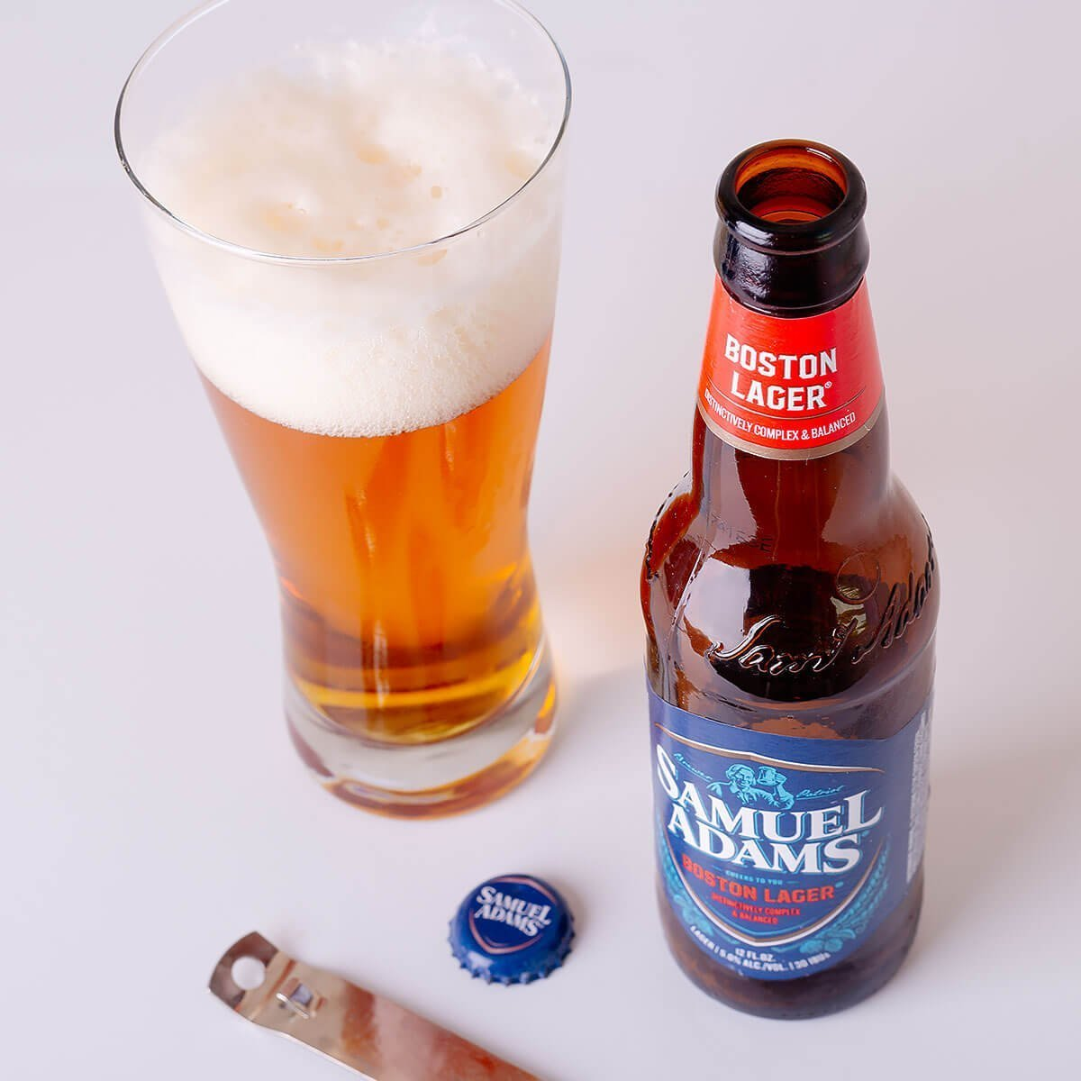Samuel Adams Boston Lager is a Vienna-style Lager brewed by the Boston Beer Company that blends floral hops, citrus, caramel, and biscuit.