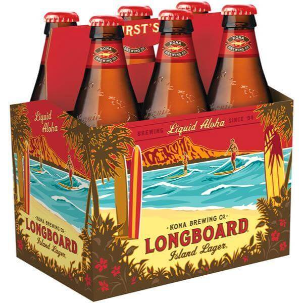 Packaging art for the Longboard Island Lager by Kona Brewing Co.