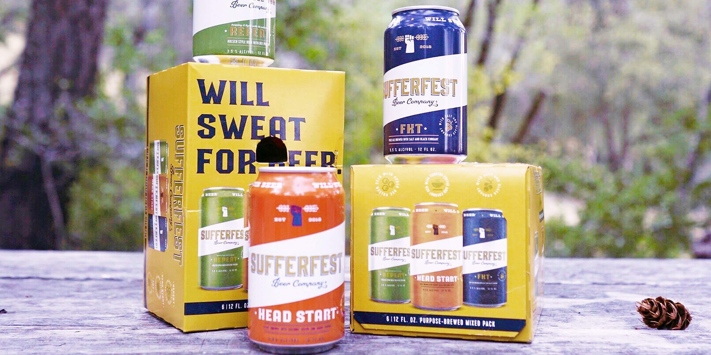 Sufferfest Beer Company introduces their first stout, Head Start and a Variety Pack, including Repeat, FKT (Fastest Known Time) and Head Start.