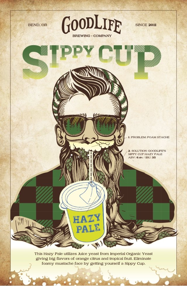 Poster art for the Sippy Cup Hazy Pale Ale by GoodLife Brewing Company
