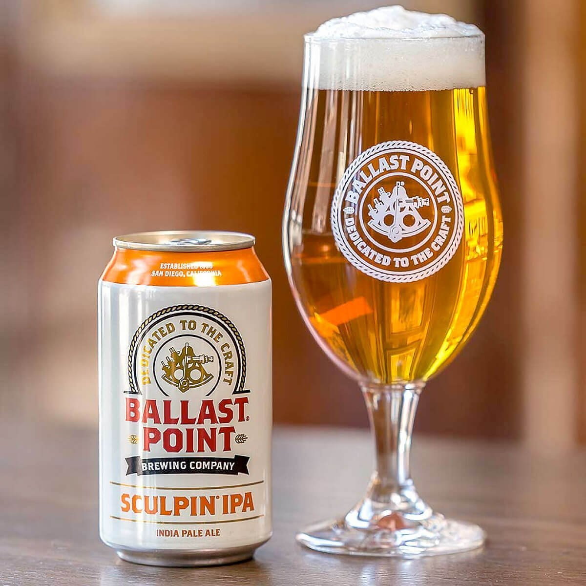 12 oz. Can of Sculpin IPA and Ballast Point Brewing Company Branded Tulip Glass