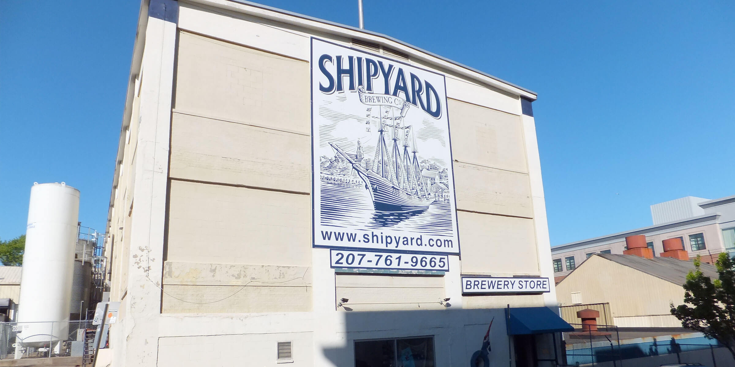 Outside the Brewery and Taproom at Shipyard Brewing Co. in Portland, Maine