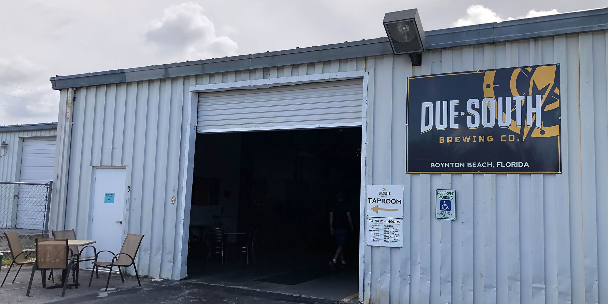 Outside the taproom entrance to Due South Brewing Co. in Boynton Beach, Florida