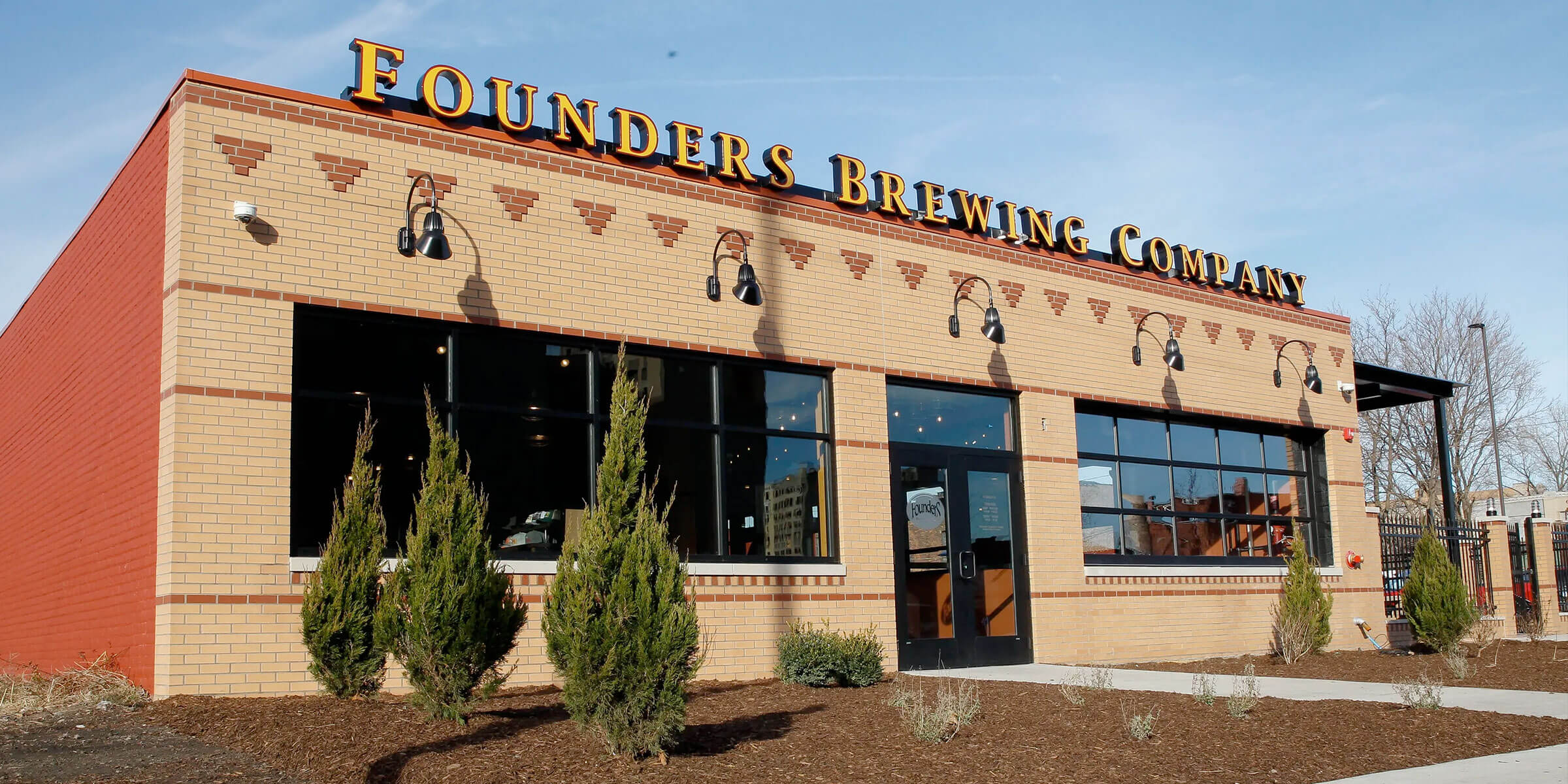 Outside the entrance to the Founders Brewing Co. taproom in Detroit, Michigan