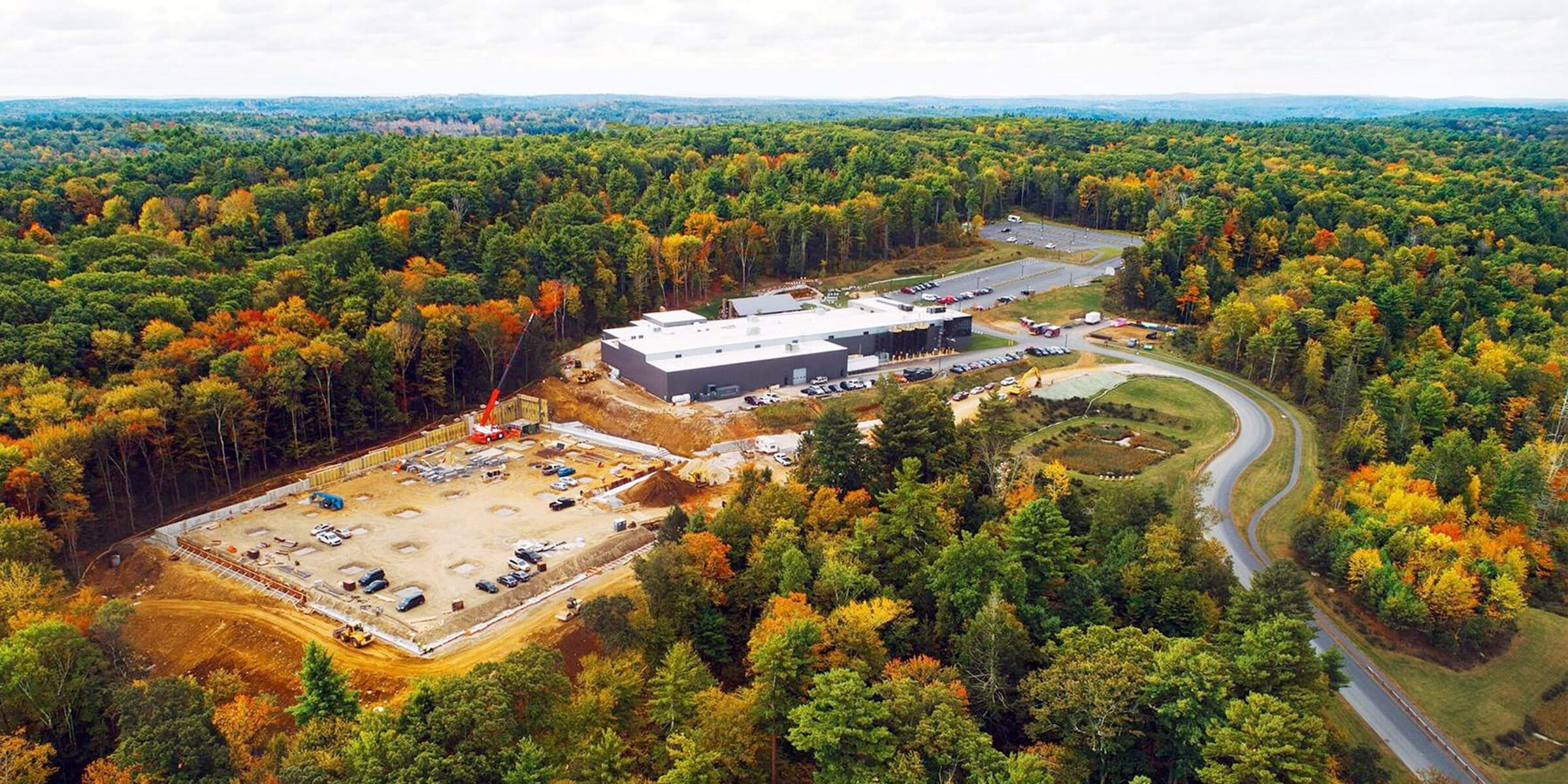 Aerial view of the grounds at Tree House Brewing Company Brewery in Charlton, Massachusetts