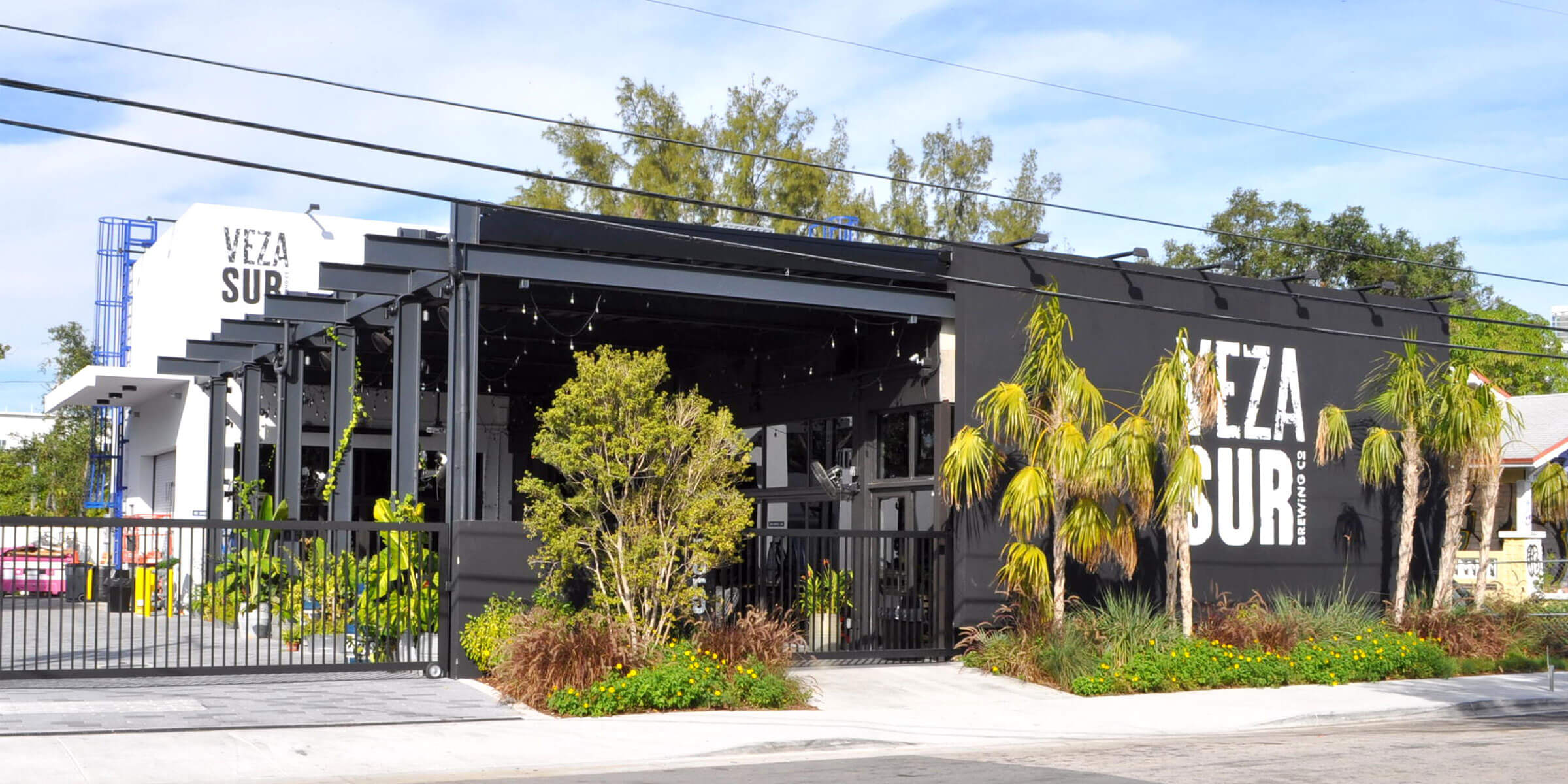 Outside the entrance to Veza Sur Brewing Co in the Wynwood neighborhood of Miami, Florida