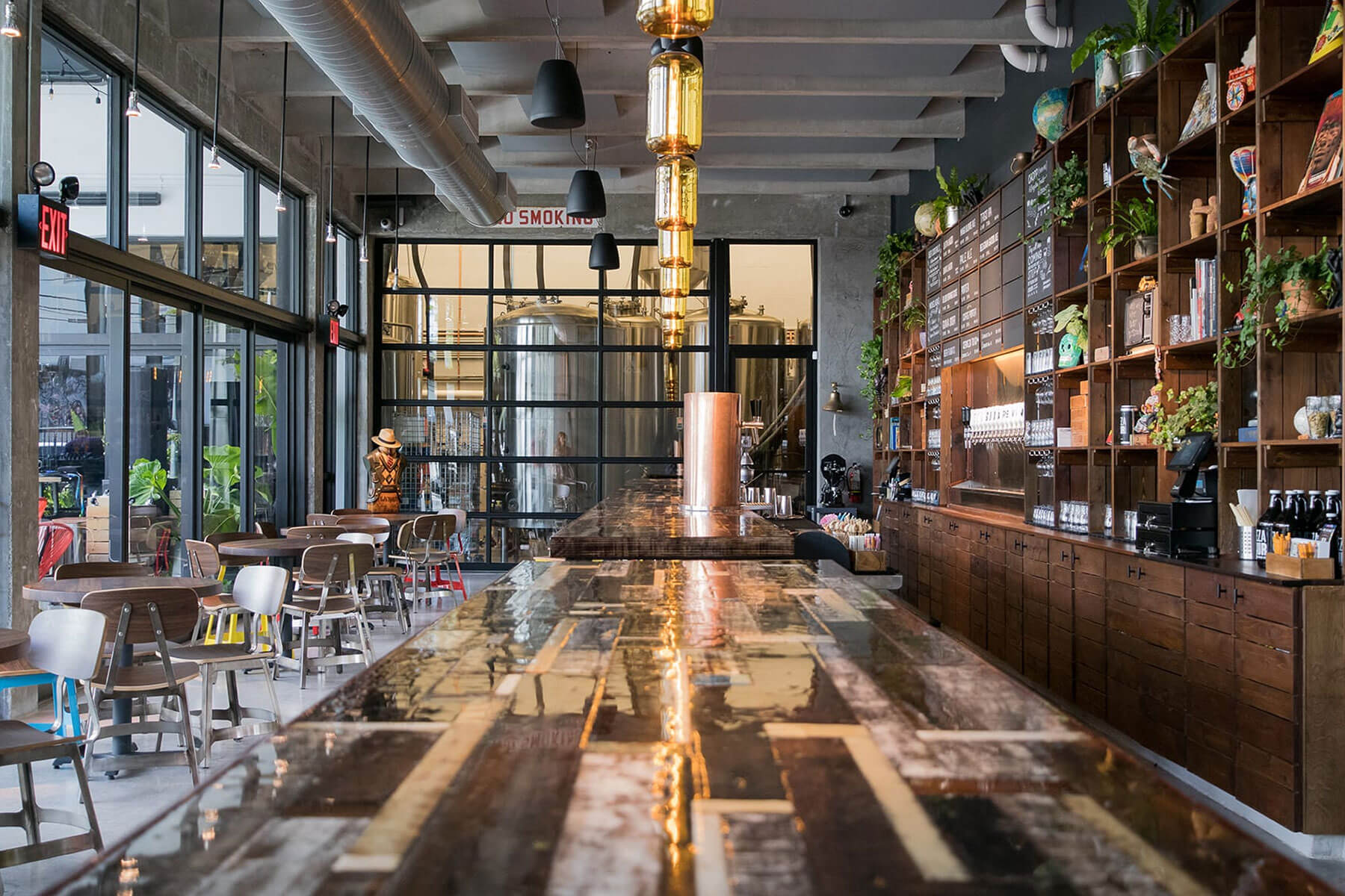 Inside the taproom of Veza Sur Brewing Co in the Wynwood neighborhood of Miami, Florida
