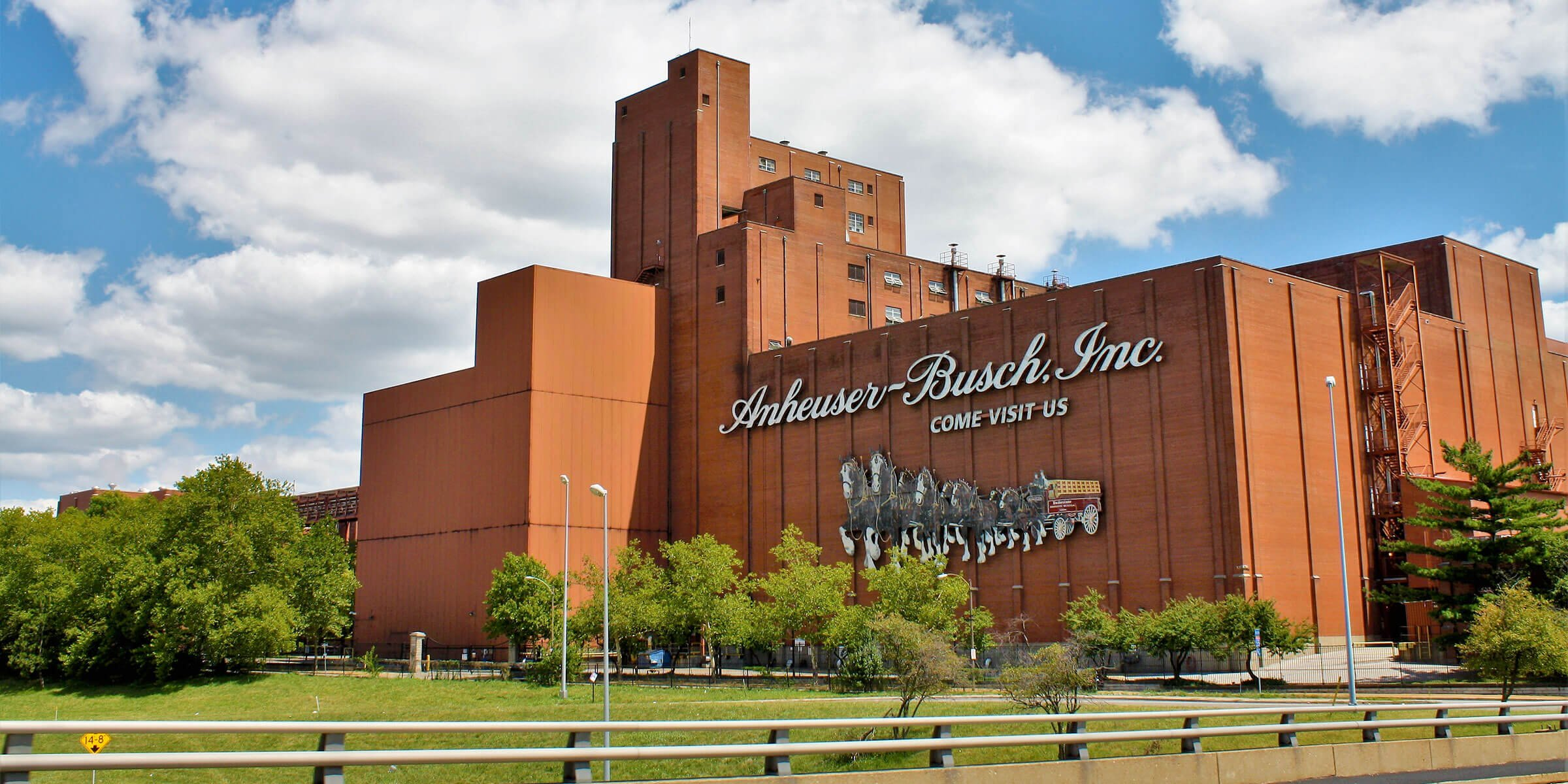 Outside the Anheuser-Busch St. Louis Brewery in St. Louis, Missouri