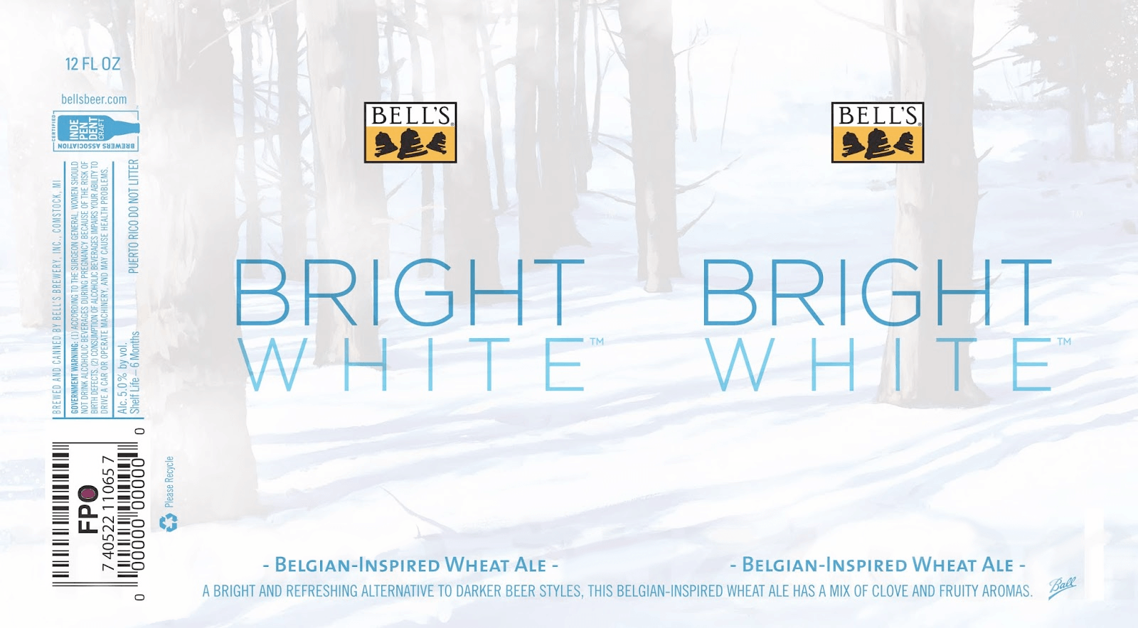Label art for the Bright White Ale by Bell's Brewery, Inc.