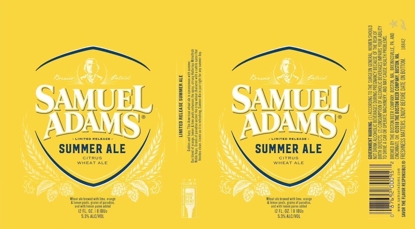 Label art for the Samuel Adams Summer Ale by Boston Beer Company