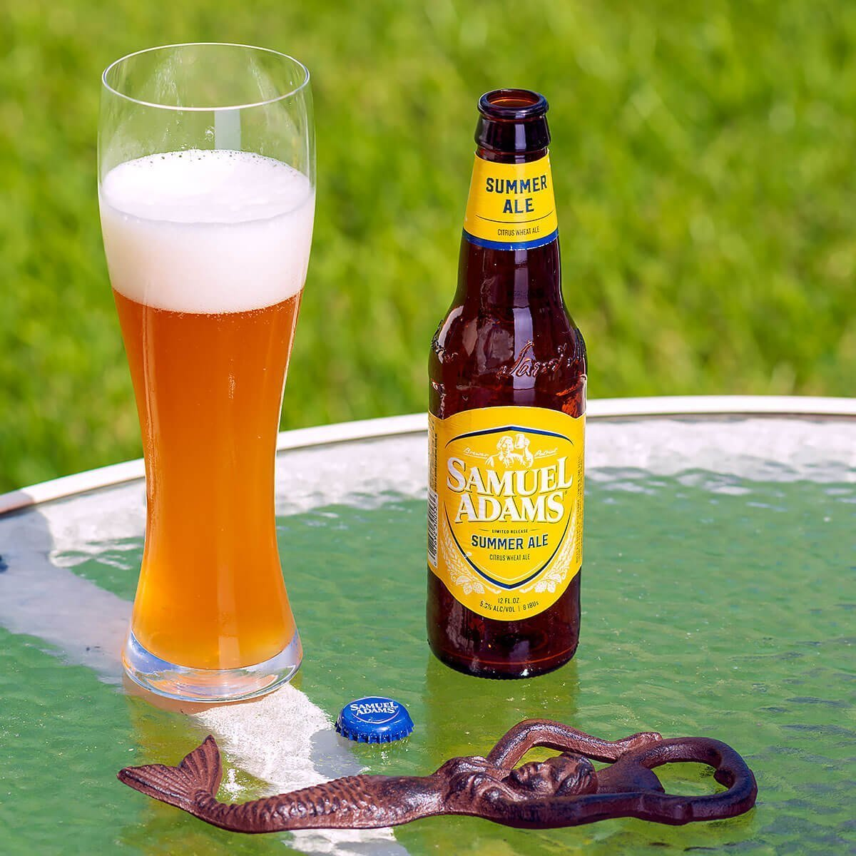 Samuel Adams Summer Ale is an American Wheat Ale by the Boston Beer Company that blends bright citrus, wheat, and grains of paradise.