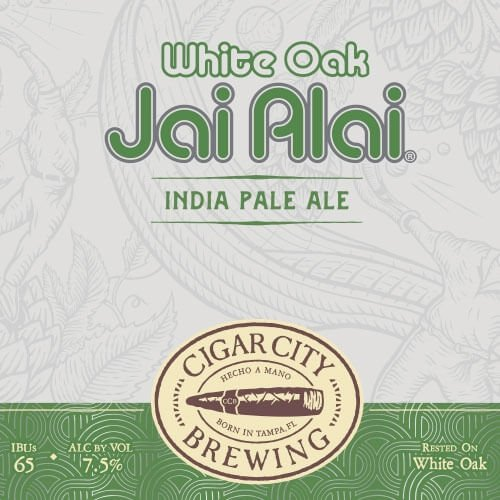Label art for the White Oak Jai Alai by Cigar City Brewing