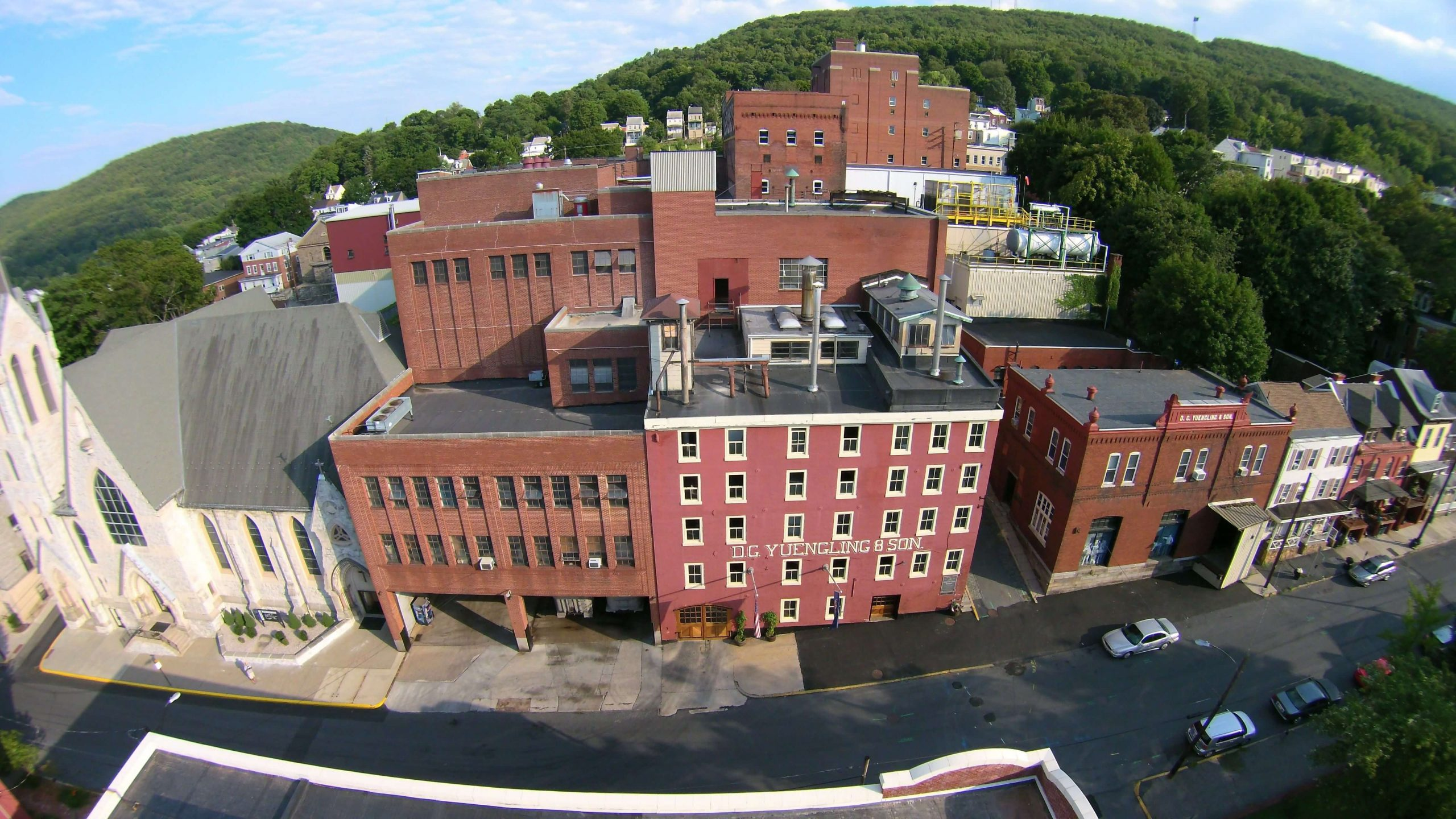 Above the D. G. Yuengling & Son, Inc. brewery and headquarters in Pottsville, Pennsylvania