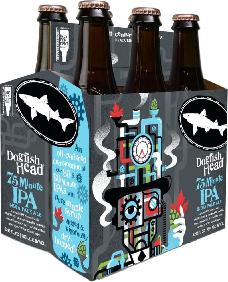 Packaging art for the 75 Minute IPA by Dogfish Head Craft Brewery