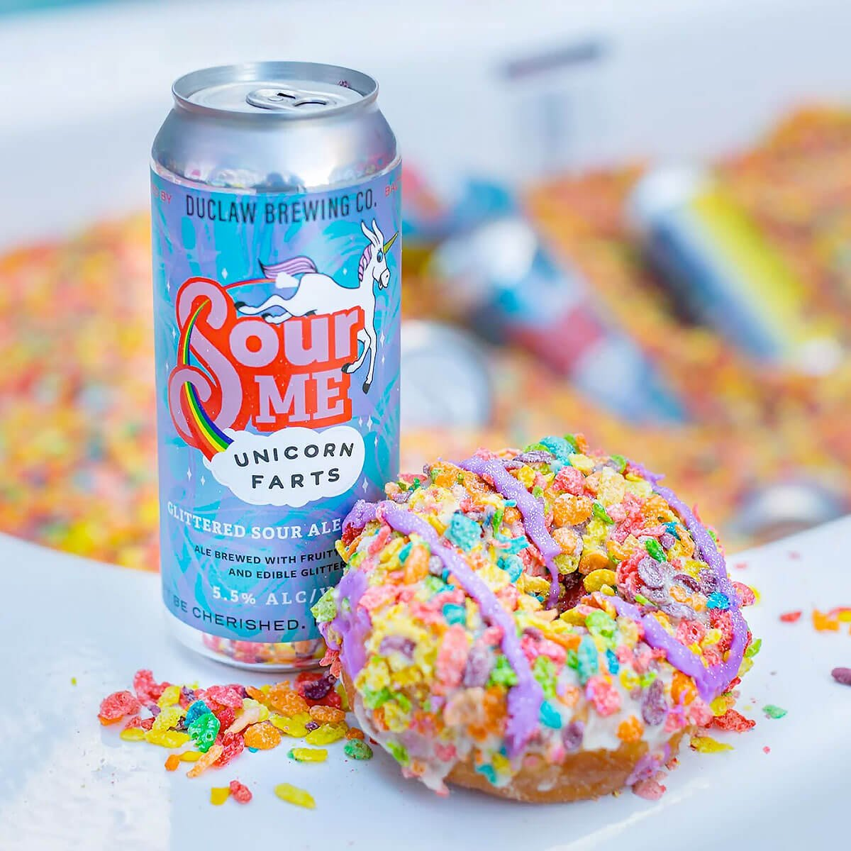 This year's batch of Sour Me Unicorn Farts has been tweaked to better showcase the Fruity Pebbles flavors of the doughnut.