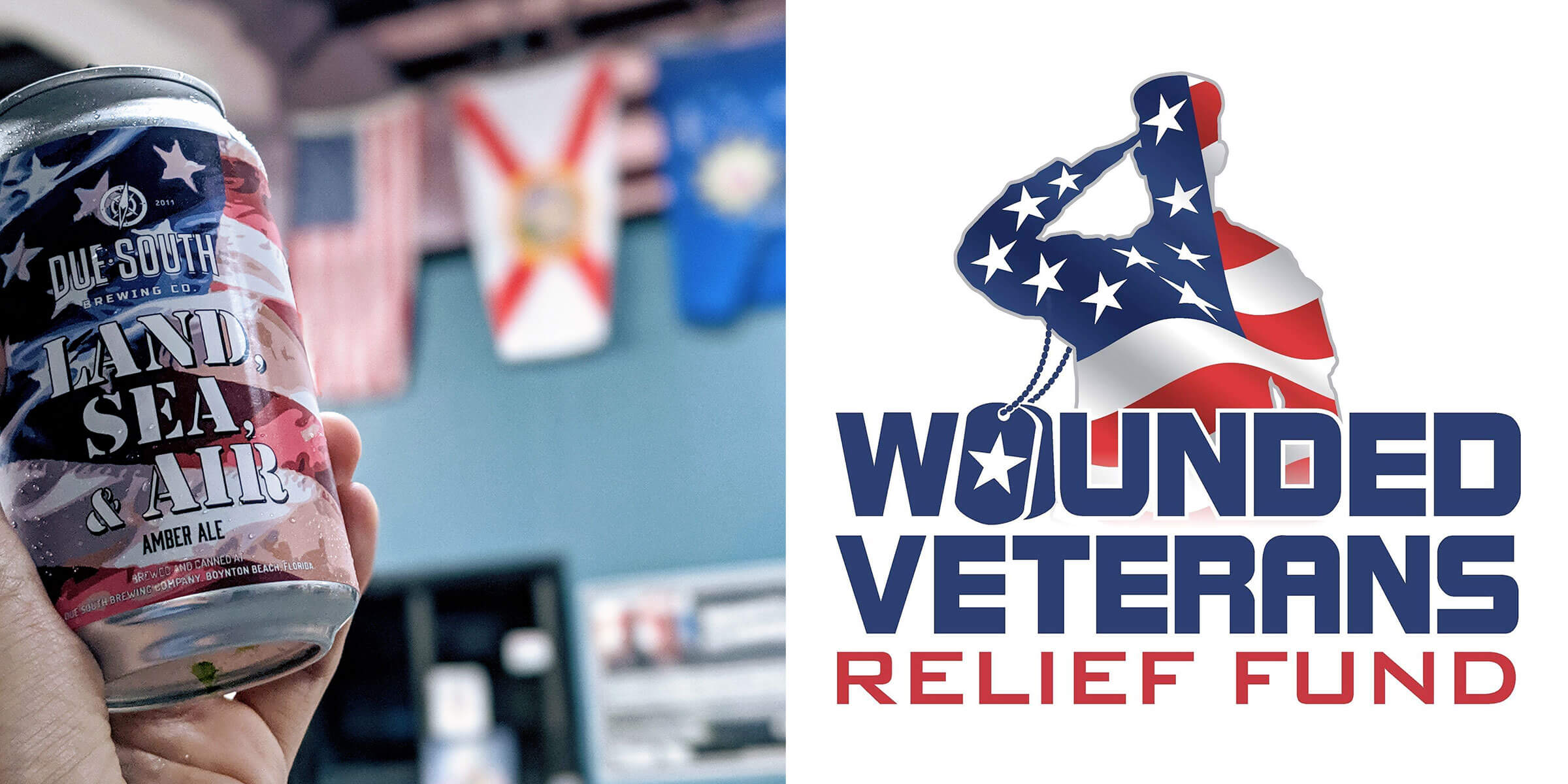 """Due South Brewing Co., a veteran owned and operated craft brewery, has released """"Land, Sea, & Air"""" to help raise funds for Wounded Veterans Relief Fund."""
