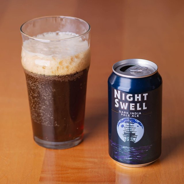 Night Swell is an American Black Ale by Heavy Seas Beer that blends roast, biscuit, and caramel with a light floral and citrus hops.