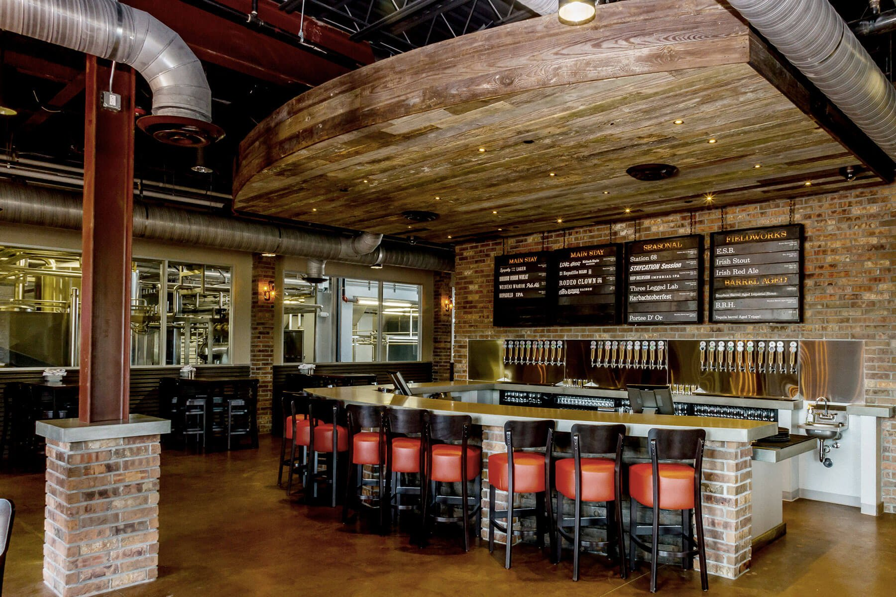 Inside the restaurant and taproom at Karbach Brewing Co. in Houston, Texas