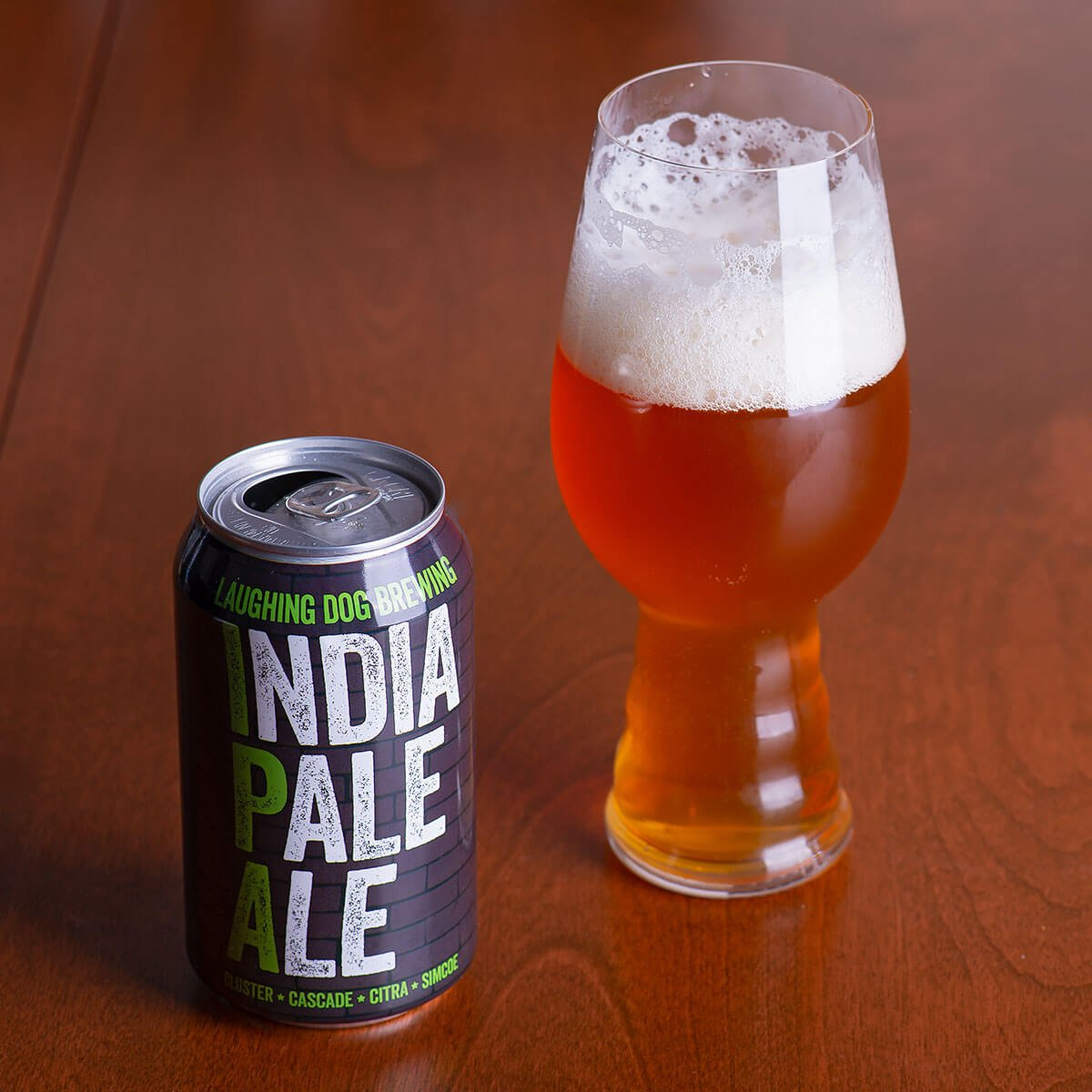 The India Pale Ale (I.P.A.) by Laughing Dog Brewing is a hoppy mouth pleaser, delivering a blast of floral, piney, and citrusy hops.