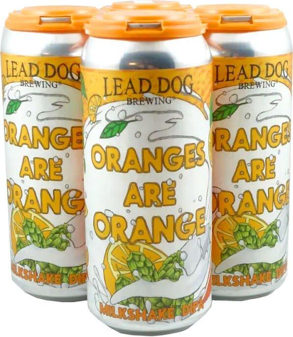 Packaging art for the Oranges are Orange Milkshake IPA by Lead Dog Brewing
