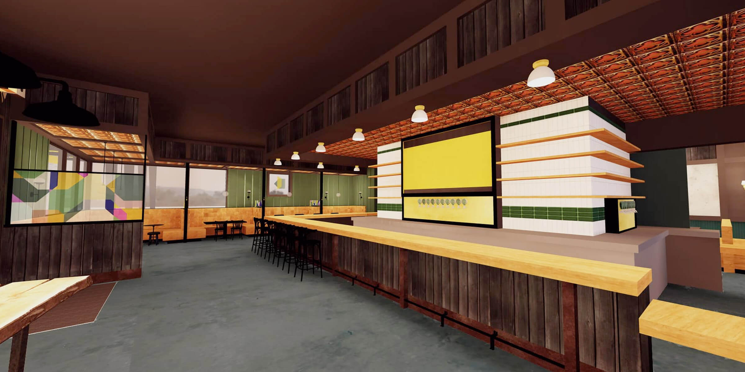 Conceptual art for the interior of Meanwhile Brewing Company, opening next year in Austin, Texas