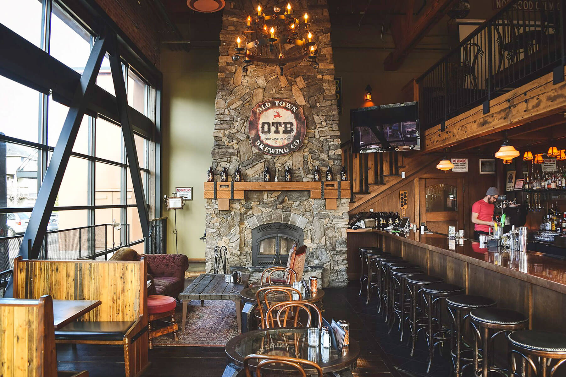 Inside the Old Town Brewing Northeast Brewery taproom in Portland, Oregon
