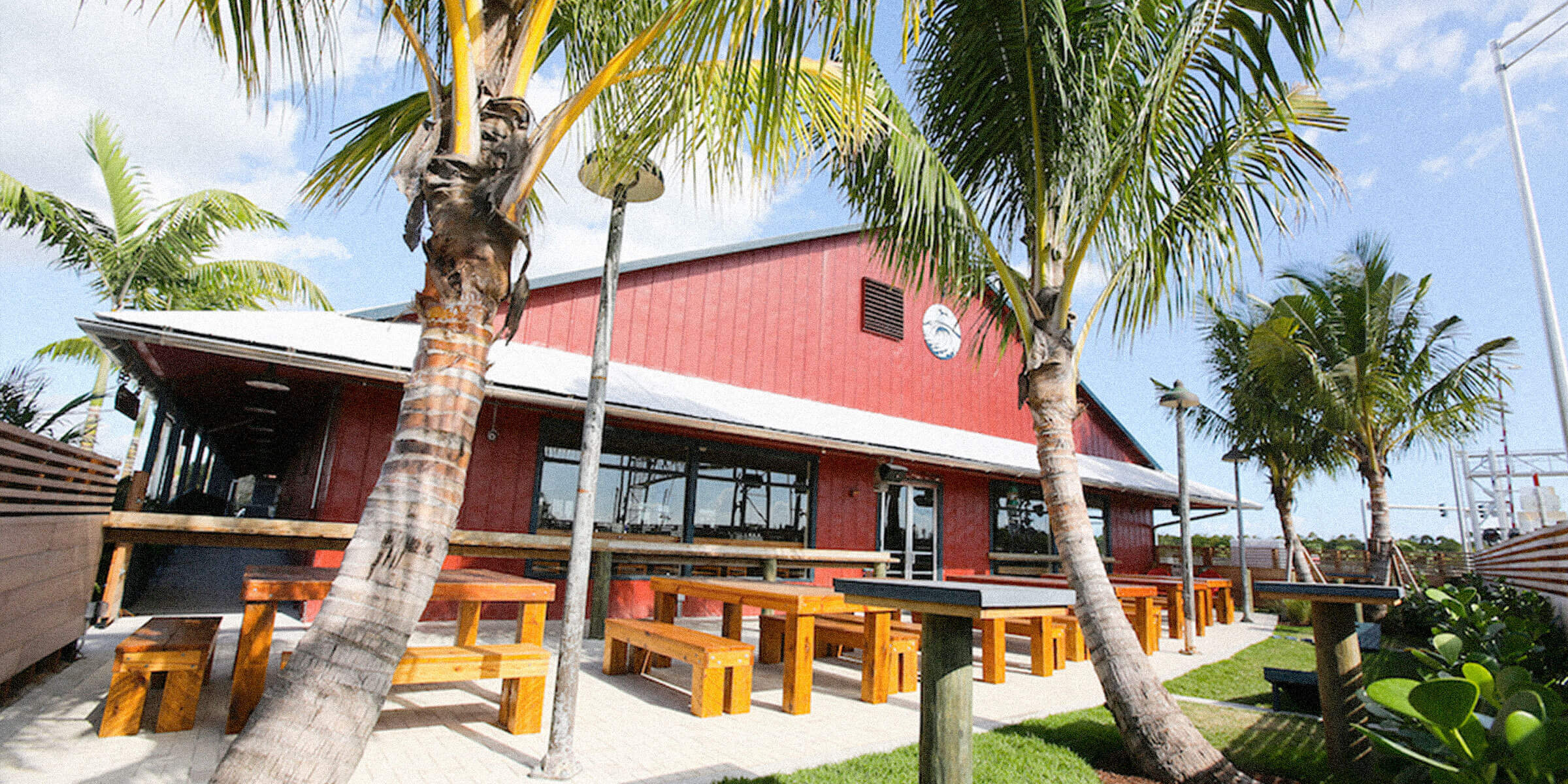 Outside SaltWater Brewery in the beer garden in Delray Beach, Florida