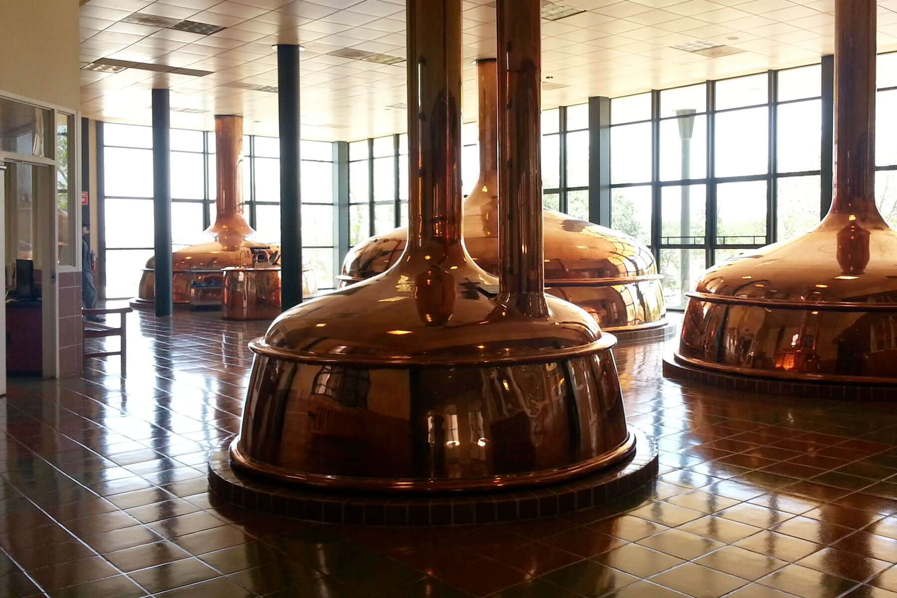 Kettles as part of the tour at the Spoetzl Brewery in Shiner, Texas