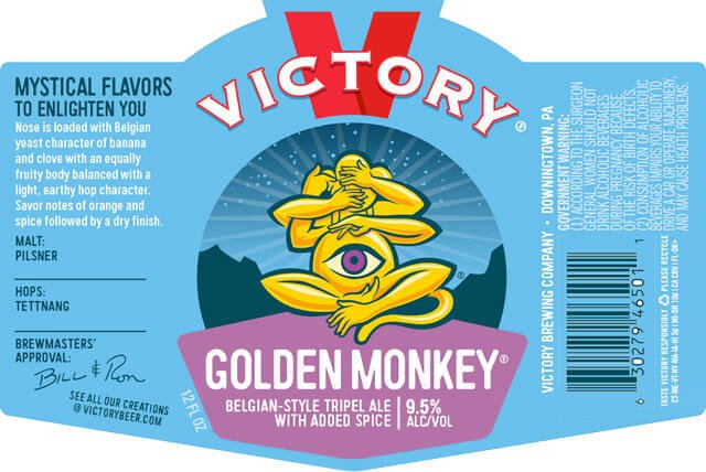 Label art for the Golden Monkey by Victory Brewing Company