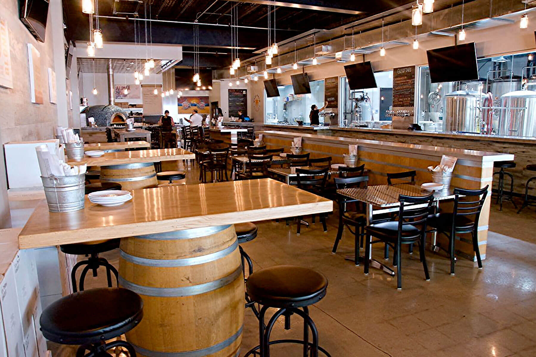 Inside the taproom of West Palm Brewery in downtown West Palm Beach, Florida