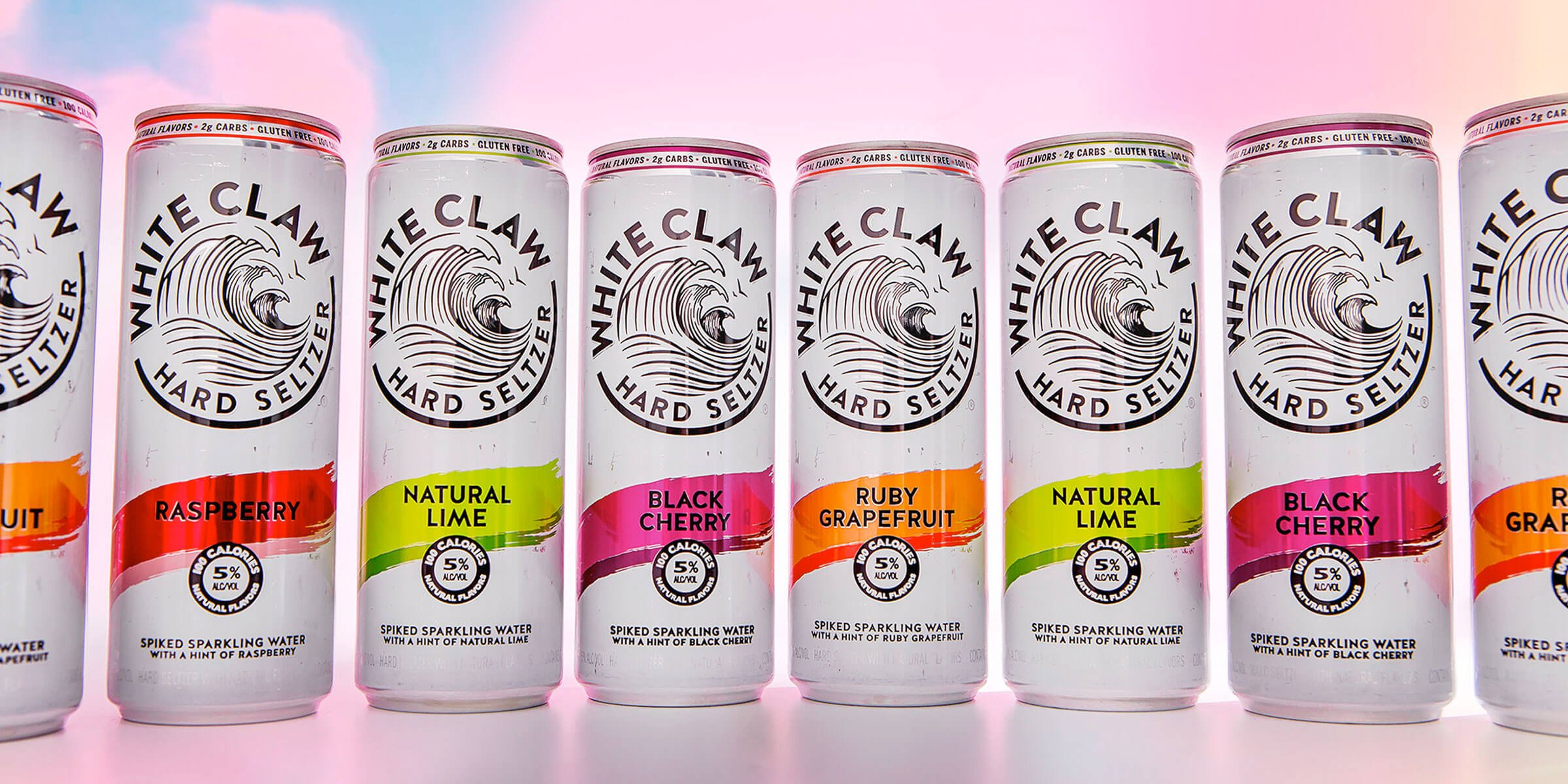 Lineup of White Claw Hard Seltzer canned ready-to-drink beverages by the Mark Anthony Group of Companies