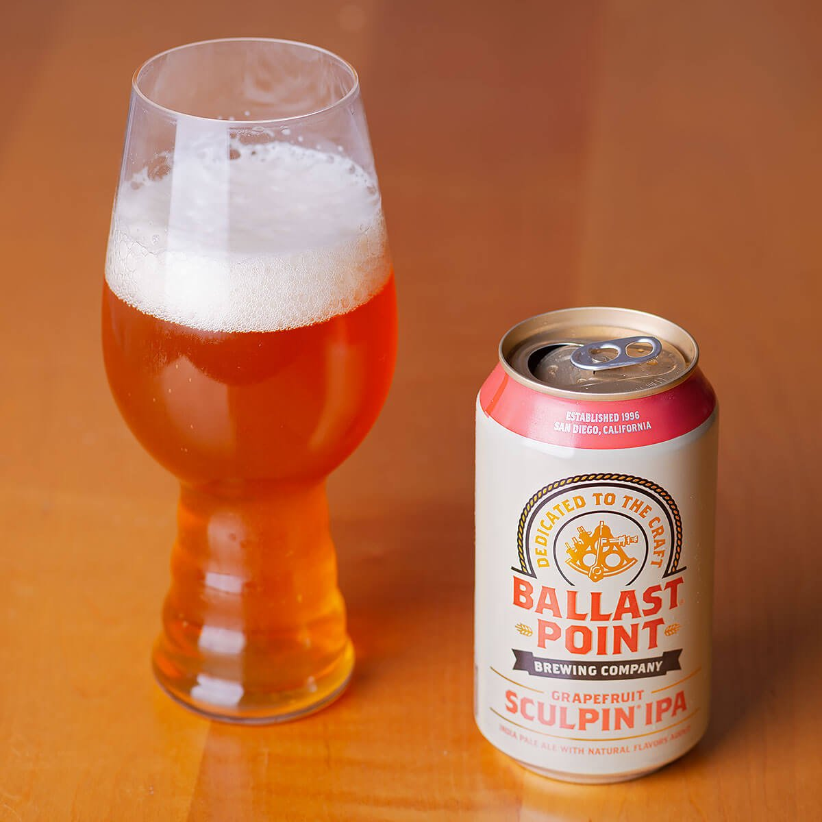 Grapefruit Sculpin is an American IPA by Ballast Point Brewing Company that delivers big grapefruit flavor with a hefty malt backbone.