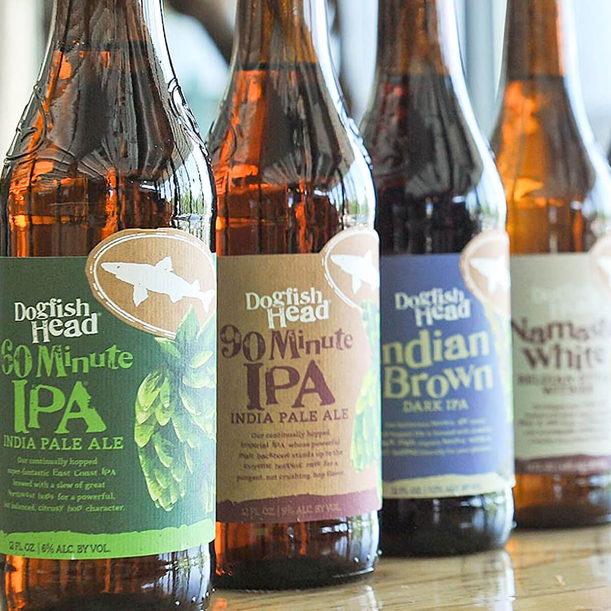 Lineup of bottled beers offered by Dogfish Head Craft Brewery
