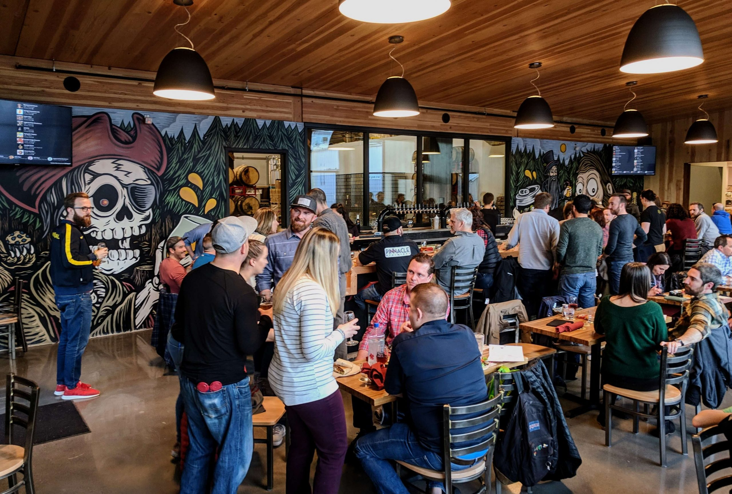 Inside the taproom at the NW Brewpub location of Great Notion Brewing in Portland, Oregon
