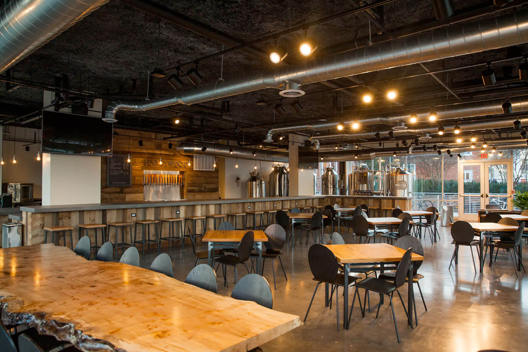 Inside the Hardywood Park Craft Brewery taproom in Charlottesville, Virginia