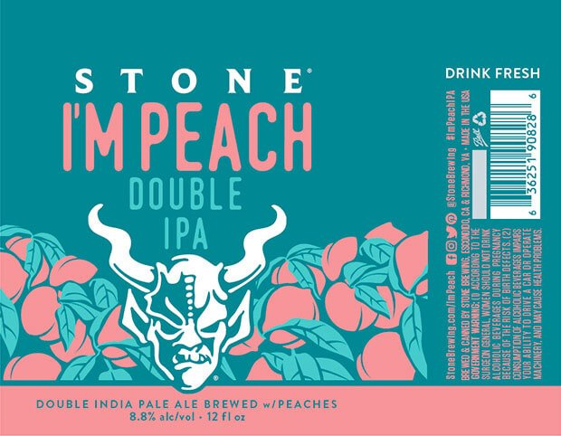 Label design for 12 oz. cans of I'm Peach by Stone Brewing