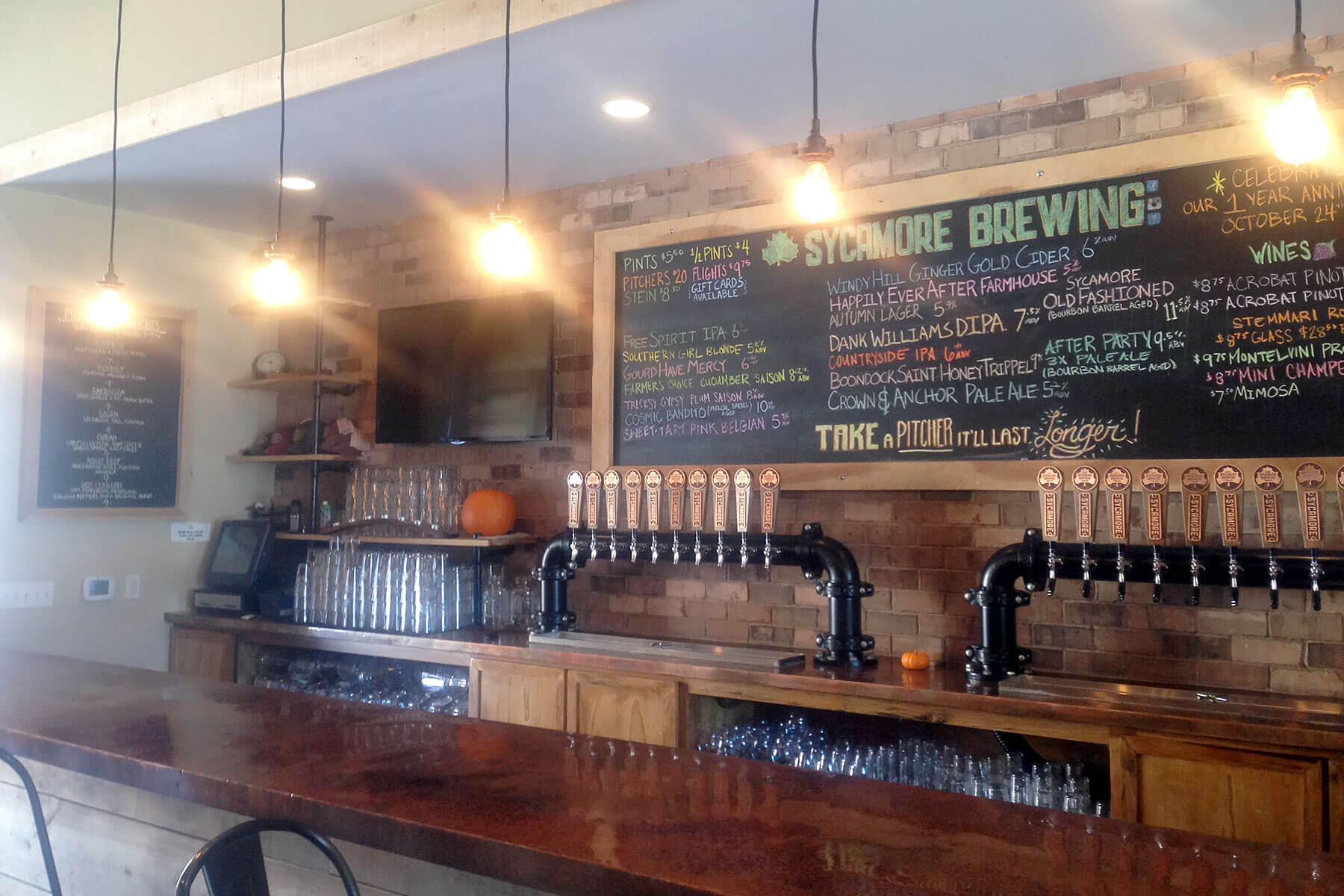 Inside the Sycamore Brewing taproom in Charlotte, North Carolina