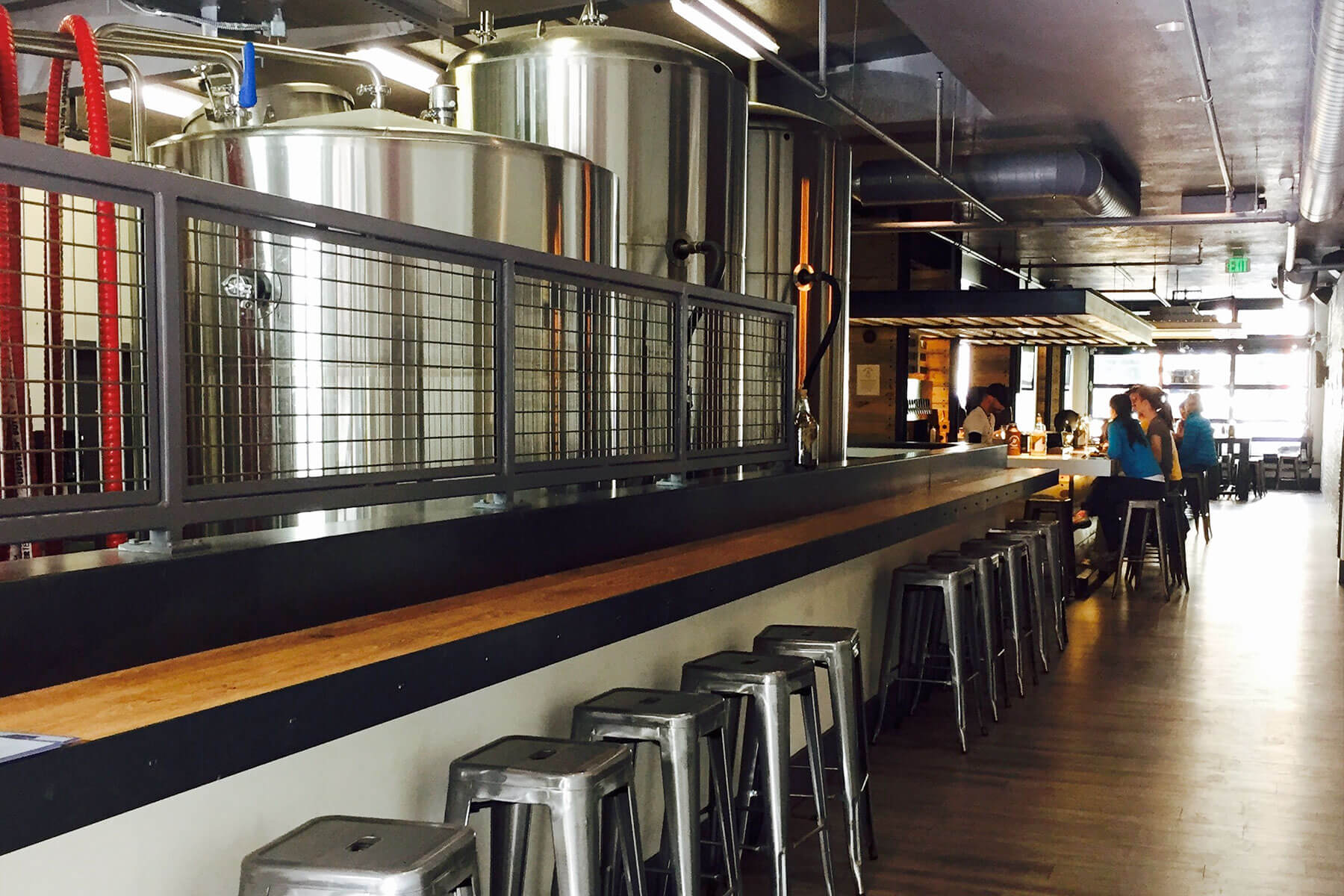Inside the taproom at Westbound & Down Brewing Company in Idaho Springs, Colorado
