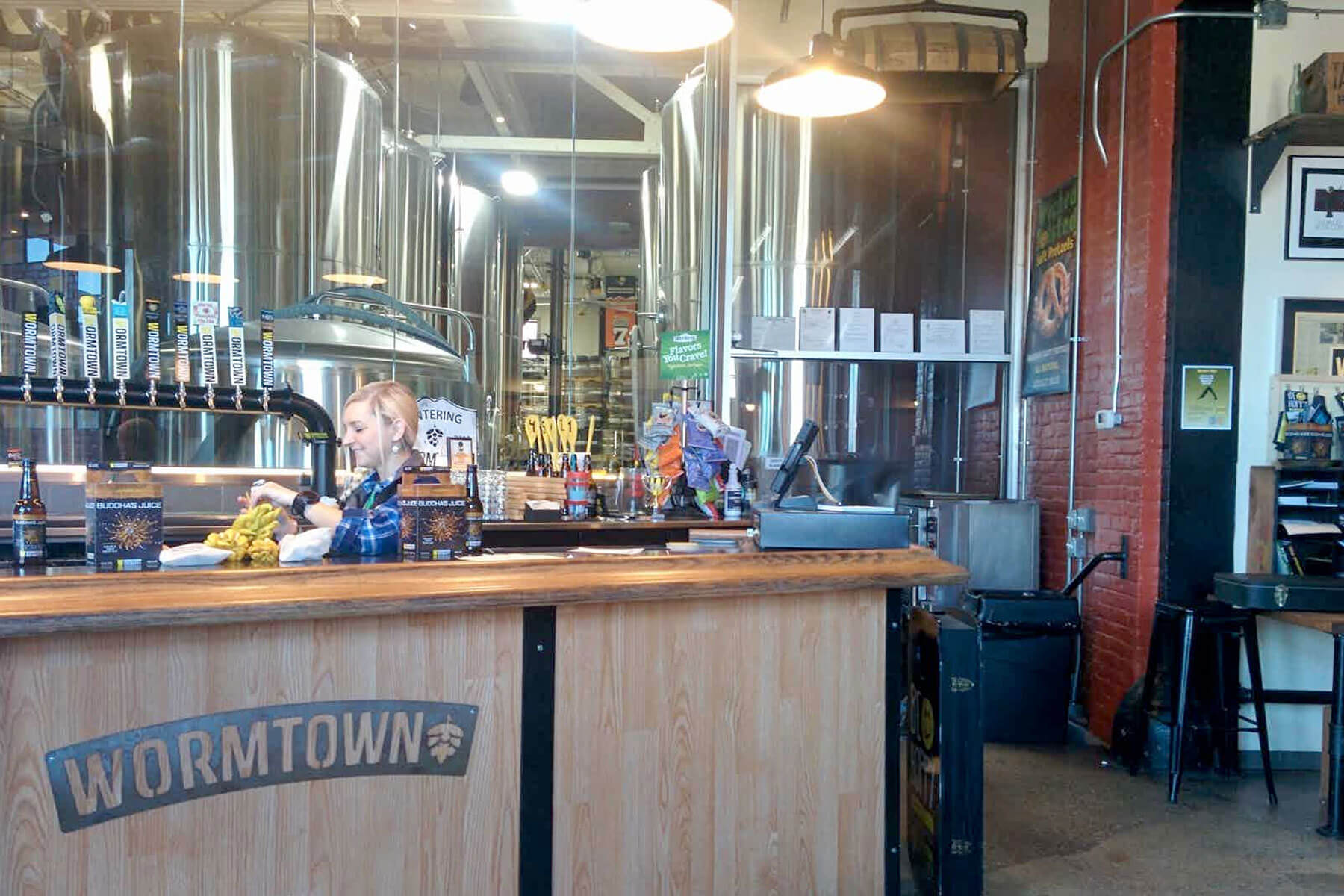 Inside the taproom at Wormtown Brewery in Worcester, Massachusetts
