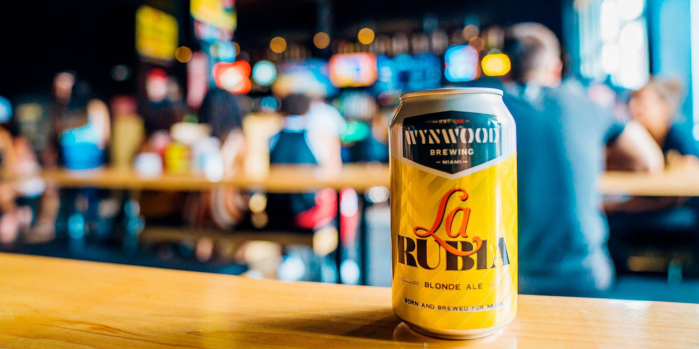 A 12 oz. can of the La Rubia Blonde Ale by Wynwood Brewing Company