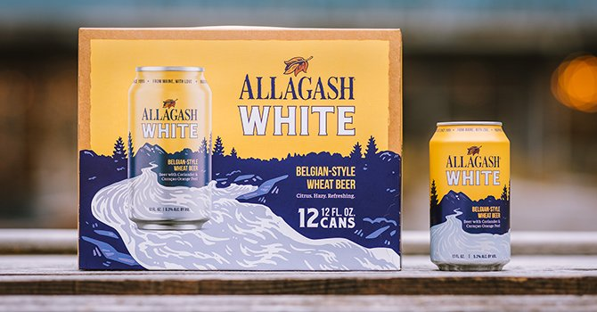 12 pack of 12 oz. cans of the Allagash White by Allagash Brewing Company