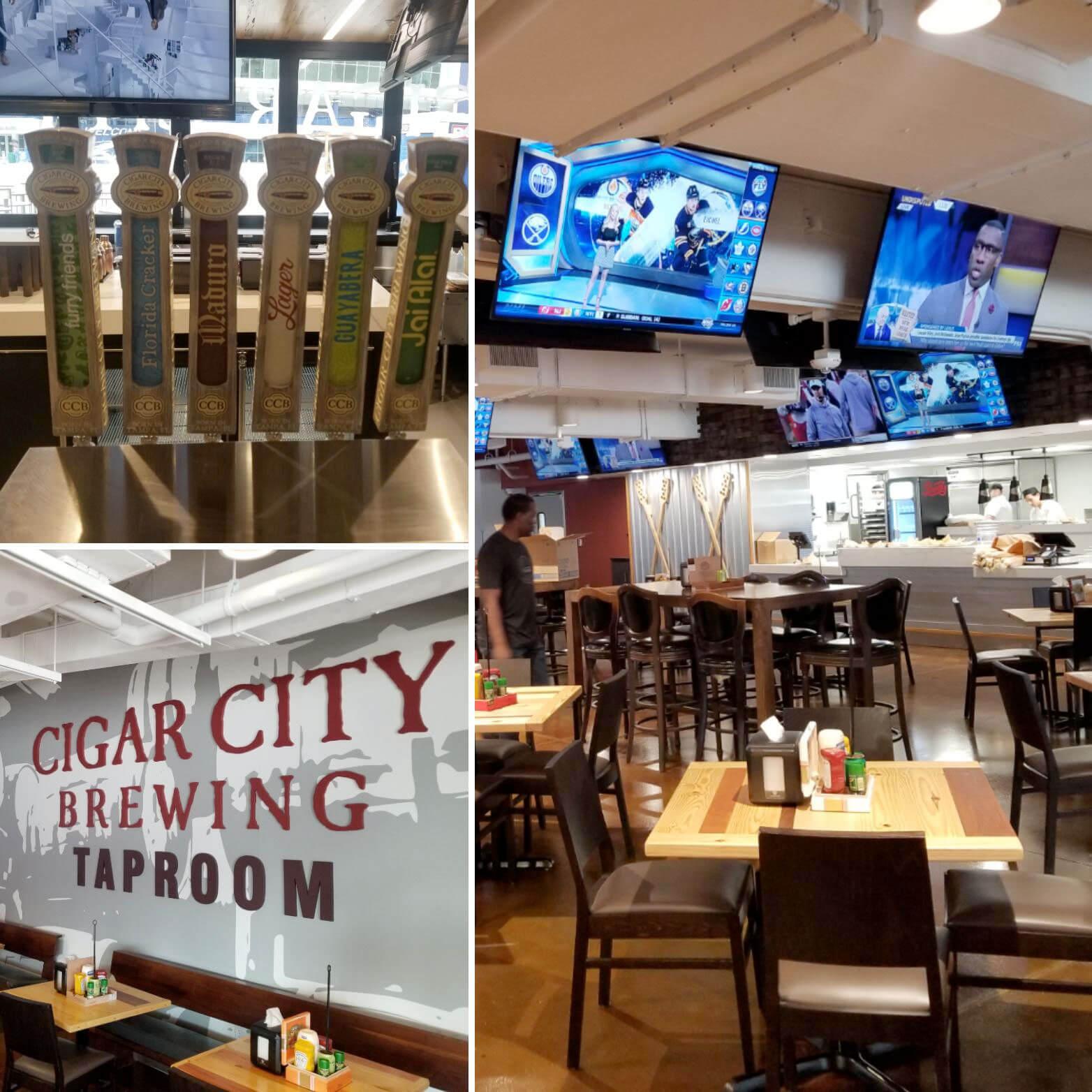 Photos intérieures de la nouvelle salle de brasserie Cigar City Brewing à l'AMALIE Arena de Tampa, en Floride
