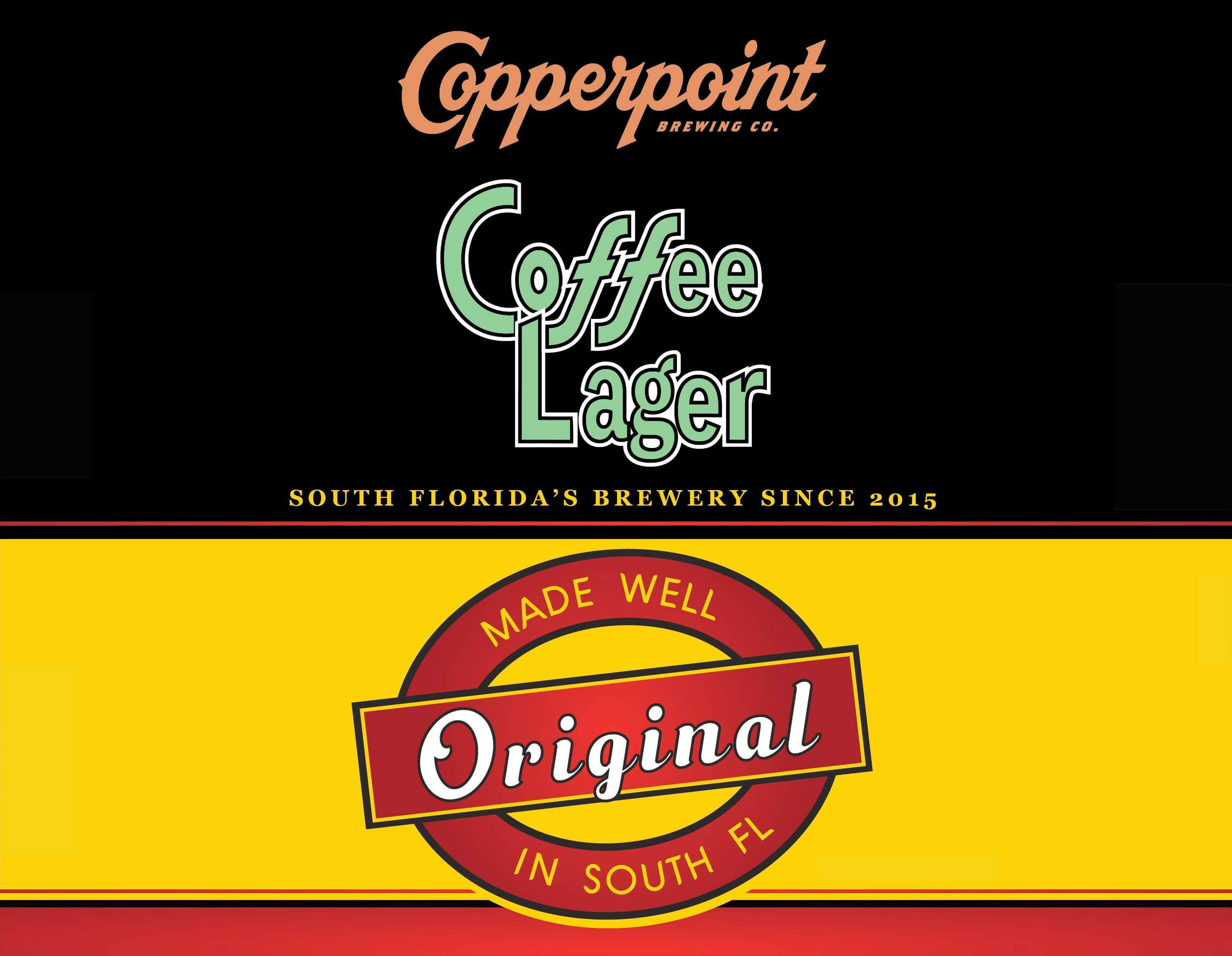 Label art for the Coffee Lager by Copperpoint Brewing Company