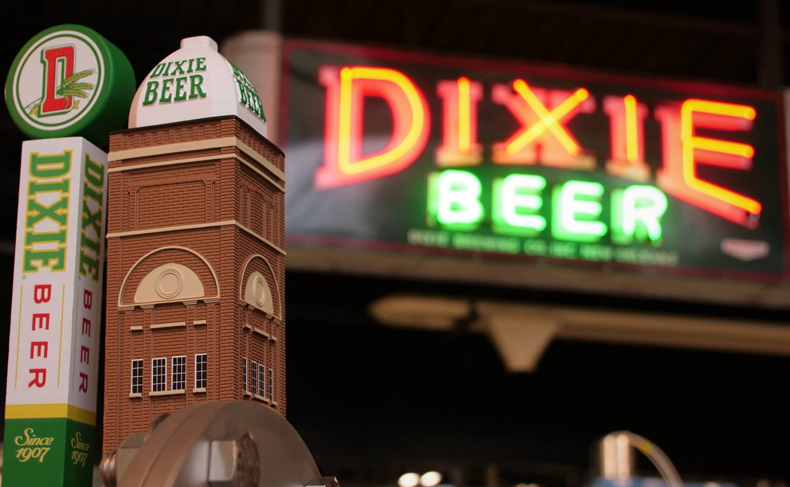 Dixie Brewing Company signage and tap handle