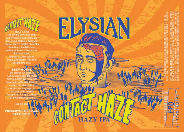 Label design for 12 oz. cans of Contact Haze by Elysian Brewing Company