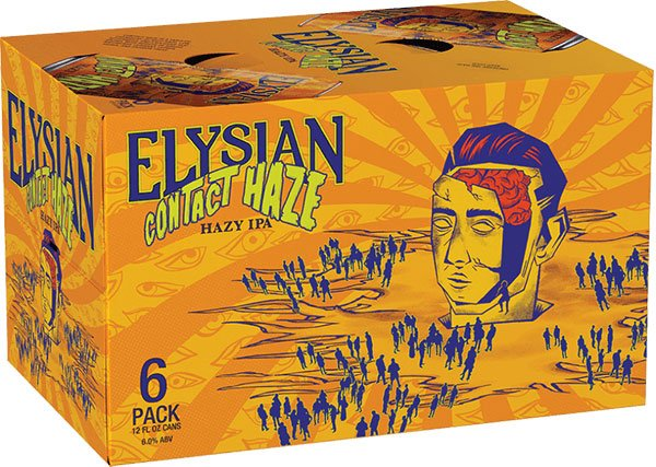 Packaging design for six packs of 12 oz. cans of Contact Haze by Elysian Brewing Company